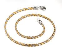 altın bükülmüş zincirler erkekler için toptan satış-4 MM Geniş Link Zinciri Kolye Twisted Zincir Altın + Şerit Erkekler Kolye Uzun Paslanmaz Çelik Zincir NC-036