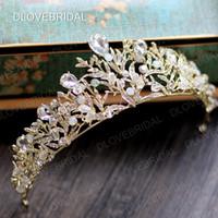 coronas de baile de calidad al por mayor-Impresionante oro plata nupcial corona envío gratis alta calidad colorido cristal transparente boda Prom Party Tiara accesorios para el cabello fotos reales