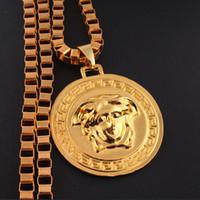 Wholesale Singer Wholesale - Medusa Necklace Long Chain Gold Plated Medusa Head Pendant Necklace Men's Singer DJ Necklace Jewelry 160767