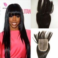 Wholesale Virgin Brazilian Bangs - In Stock Closure 7A Grade Human Hair Closure With Bangs 100% Virgin Malaysian Hair Lace Closures With Bangs Frange Lace Closure
