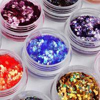 moldar acrílico 3d unha arte venda por atacado-Focallure 12 Cores / set Nail Art Prego Glitter 3D Acrílico Rhombus Glitter Forma Lantejoulas Em Pó Conjunto para Decoração de Unhas