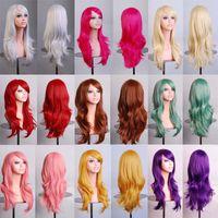 pelucas de cabello verde al por mayor-Cosplay ondulado largo rojo verde Puprle rosa negro azul astilla gris canoso marrón 70 cm pelucas de pelo sintético