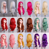 Wholesale wavy light blonde wig - Long Wavy Cosplay Red Green Puprle Pink Black Blue Sliver Gray Blonde Brown 70 Cm Synthetic Hair Wigs