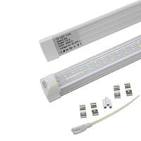 floresan ışık fikstürleri t8 toptan satış-Çift Sıra 8ft LED Işıklar T8 entegre tüp 72 w SMD 2835 LED Işık Ampüller 110lm / w 2.4 m led aydınlatma floresan lamba fikstür