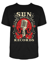 micrófono de cuello al por mayor-Camisas de manga Moda Sun Records Electric Mic Music camiseta camisetas Rude Top Tee Round Neck
