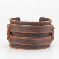 leather cuff wristband bracelet großhandel-Modeschmuck Breite Echtes Leder Armreifen Manschette Armbänder Neueste Mens Vintage Echtes Leder Armband Armbänder