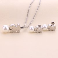 Wholesale Cute Girl China - Fashion stainless steel girl gold silver pearl pendant jewelry necklace earring set of party gift cute bears style