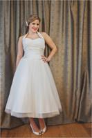 Wholesale Pleated Waistband - Vintage Style 50s Wedding Dresses Ankle Length A Line Halter Neck Pleated Tulle Satin Waistband Bridal Gowns Custom Size