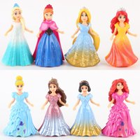 Wholesale Magic Dragon - 8pcs lot Disny Princess Anime Action Figures Ariel Snow Queen Elsa Anna Statue Magic Clip Princess Dolls Kids Toys