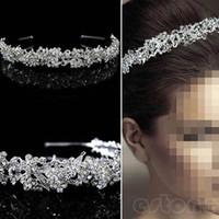 Wholesale Leaf Tiara - A40 Hot Fashion Stunning Twinkling Full Crystal Flower Leaf Wedding Bridal Flower Girl Tiara free shipping