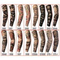 Wholesale tattoo sleeve anti uv - Randomly Trendy Unisex Outdoor Sport Anti-UV Fake Tattoo Sleeves Motorcycle Hiking Arm Protective Warm Stocking Sleeves Temporary Tattoo