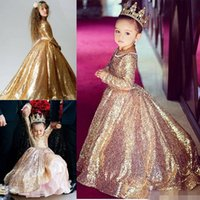 Wholesale Toddler Girl Party Sequin Dresses - Gold Sequin Toddler Ball Gowns Girls Pageant Dresses Jewel Long Sleeves 2018 Formal Kids Party Gown Flower Girl Dresses for Weddings