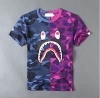 survêtement en coton noir achat en gros de-T-shirts Jogger Survêtement Pull en coton Crewneck Bird OVO Drake Hip Hop Noir Stusay Tee tops Patchw bouche impression de requin