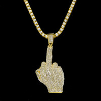 Wholesale Alloy Jewlery - Luxury Full Iced Out Rhinestones Middle Finger Pendant With 1 Row Tennis Chain And 6mm Rope Necklace Men Hiphop Jewlery
