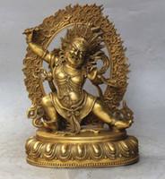 Wholesale Rare Buddha - 9.8 inch Rare Tibet Tibetan bronze Buddhist Vajrapani Chana Dorje buddha statue