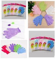 Wholesale DHL Exfoliating Bath Glove Five fingers Gloves bathroom accessories nylon bath gloves Bathing supplies bath products