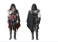 Wholesale Assassins Creed Ezio Cosplay - Newest Black Assassin Creed 2 II Ezio Cosplay Costume ,Custom made cosplay costume Assassin's Creed II Ezio costume For Helloween