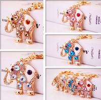 Wholesale Cute Elephant Keychains - Bling Bling Crystal Rhinestone Cute Elephant Metal Keychain Keyring Car Keychains Purse Charms Handbag Pendant Best Gift