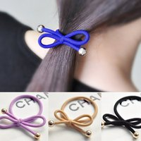 Wholesale Gold Elastic Ponytail Hair Holder - 11 Colors Option Knotted Ribbon Hair Tie Ponytail Holders Stretchy Elastic Headbands Women Colorful Hair Accessory Bowknot Hair Rubber Bands