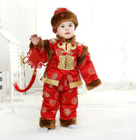 Wholesale Chinese Tang Suit Style Child - Tang Suit Boys Plush padded Suits Baby New Year In Clothes Full Moon Fall Winter Clothing Children Wear Package Mail