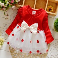 Wholesale Wholesale Factory Direct Clothing Korean - 2017 Korean version of the spring dot bowknot girls skirt kids dress factory direct low-cost Baby clothing free shipping