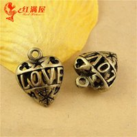 Wholesale Star China Phone - 15*15MM Hollow retro star love Heart Pendant mobile phone accessories materials wholesale, vintage filigree heart charms China