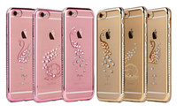 Wholesale Diamond Single Row - For Apple 6 7 Plated TPU Mobile Phone Case Single Row Drill Transparent Soft Shell Protection Set Diamond Star Peacock Swan Shell