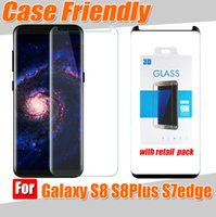Wholesale Anti Glare Protectors - S8 case version 3d curved glass case use For samsung galaxy S8 S8 Plus case friendly 3D tempered glass phone screen protector film