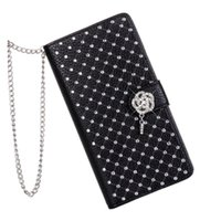 Luxo Bling Rhinestone Diamond Glitter Leather Flip Wallet Case Cover para LG G3 G4 G5 Stand Card Phone Case para Mulheres