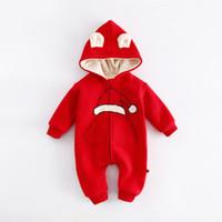 ingrosso camici rossi neonati-Vestiti del bambino Natale Pagliaccetti rossi Neonato Body Suit Abbigliamento per bambini Boy Girl Jumpsuit Pagliaccetto del bambino con cappuccio caldo cotone infantile Complessivo