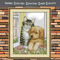 Wholesale pets painting resale online - The dog and cat hunting pet decor painting CT counted printed on the canvas DMC chinese Cross Stitch kits CT needlework Sets