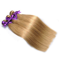 Wholesale Pure Hair Colour - Autumn Exclusively colour 27 Honey Blonde Brazilian Indian Peruvian Malaysian Human hair weave bundles straight remy hair extensions sale
