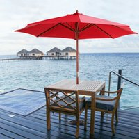 Wholesale iKayaa M Wooden Patio Garden Umbrella Sun Shade Outdoor Cafe Beach Parasol Canopy Ribs MM Pole W Air Vent g Polyester H16698R