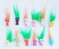 bebek kalemleri toptan satış-Eylem 50Pcs / Lot Mini Boyut Troller Kalem Topper Good Luck Troller Doll Film Rolleri Eylem For Kids Model PVC Oyuncaklar Hediyeler Şekil