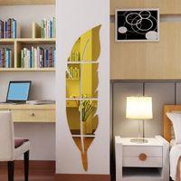 ankleideraum wandaufkleber großhandel-3 farben feder dressing spiegel diy wandaufkleber acryl aufkleber dressing spiegel decor wohnzimmer schlafzimmer badezimmer dekor