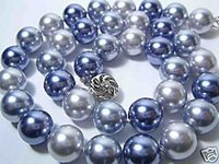 Wholesale fashion beautiful mm grey black blue sea shell Pearl Necklace