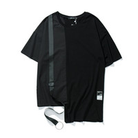 Wholesale Tshirt Cotton Fabric - Woven Fabric Patchwork Irregular Ribbon Hip Hop T-shirt Short Sleeve 2017 Summer Streetwear Solid Color Casual Tshirt Mens Clothing 9811TT