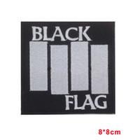 ingrosso cucire la bandiera-BANDIERA NERA Sew Iron On Patch ricamata Heavy Metal Rock Band Musica Logo adesivi Appliques Badge Patches