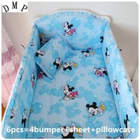 Wholesale Baby Bedding Curtain Set - Promotion! 6PCS bedding set 100% cotton curtain crib bumper baby cot sets baby bed ,include(4bumpers+sheet+pillowcase)