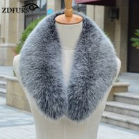 Wholesale Real Fur Shawl Shrug - Wholesale- ZDFURS * Real fox Fur Collar Scarf Womens Shawl Wraps Shrug Neck Warmer Stole Wholesale Hot sale Ring Scarf Womens ZDC-163003