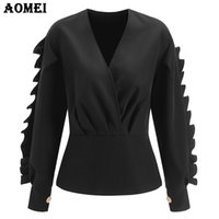 Wholesale Long Sleeve Peplum Top Xl - Long Sleeve Black Peplum Tops Blouse for Women Fancy Ruffles Frills Sexy Plus Size V Neck Autumn Fashion Lady Wear to Work Shirt
