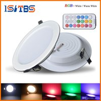 Wholesale Dimmable Rgb Led Panel - Professional Dimmable LED Panel Light 10W RGB+white Warm white AC 85-265V Ceiling Downlight + timer remote control + led driver