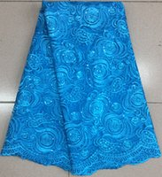 Wholesale Pattern Fabric Dress - Good looking royal blue french net lace fabric with flower pattern african mesh lace for party dressing BN39-7,5yards pc