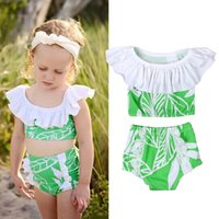 Wholesale Sleeve Swimsuit Baby - Kids Ruffled Sleeve Swimsuit Summer Tree Branches Clothes Sets For Girls Baby Girl Beach Swimwear Bikini 2 pcs Suits Childrens Clothing