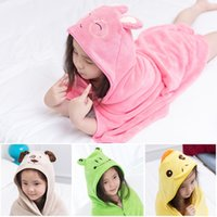 Wholesale towel material resale online - Bath Towel Coral Velvet Material Hooded Solid Color With Cartoon Hat Beach Swimming Cloak Towels Multi Style Optional bl F R