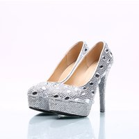 Wholesale Cheap Plastic Pump - New 2017 Wedding Shoes Silver Rhinestone Shoes Crystals Cheap Price Bridal Shoes Crystals 5CM 8CM 11CM 14CM Heel In Stock