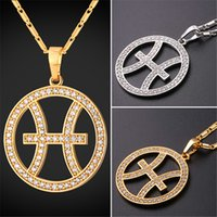 Wholesale Pisces Gifts - U7 Zodiac Charms PISCES Pendant Necklace Simple Women Men Jewelry Gift Rhinestone Gold Platinum Plated Necklace Perfect Gifts P2502