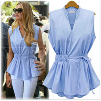 Wholesale Solid Chiffon Blouse Sleeveless - New Arrival Summer Blouses European Women's Clothing Sleeveless V-neck Ruffles Chiffon Lady's Blouses Fashion tops Gril's Shirts Hot Sales