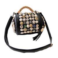 Wholesale Big Button Cell - 2017 Big Metal Rhinestone Buttons Handbags Drum Pillow Bucket Bag Barrel Shaped Crossbody Bags for Women Messenger Bags