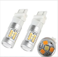 Wholesale 3157 Led Lights Dual Color - 2X 28SMD Dual Color White Amber 3157 Switchback LED Light Bulb Turn Signal Lamp